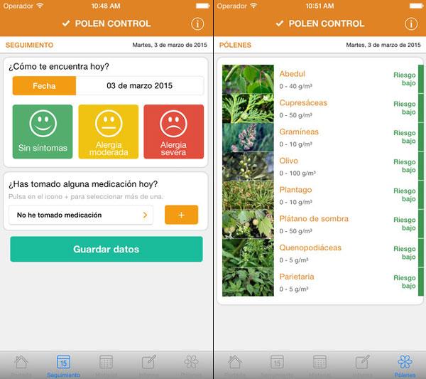 Captura de pantalla de la aplicación Polen Control